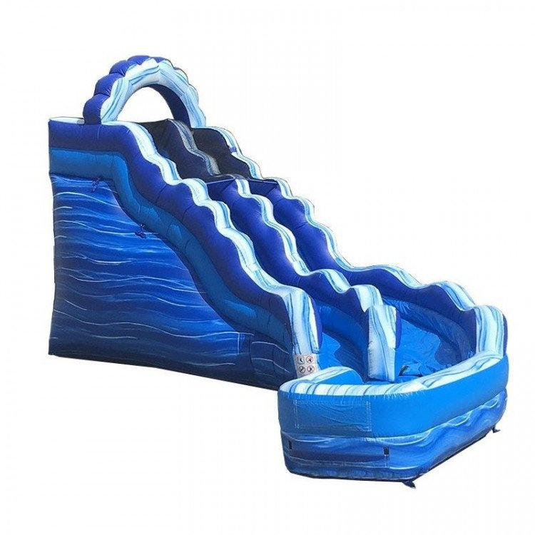 17' Blue Marble Curved Water Slide